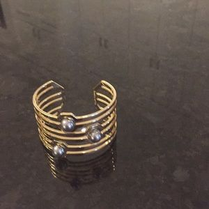 Jewelry - Gold cuff bracelet with three gray pearls